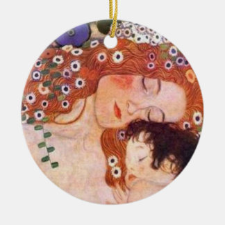 Mother and Child by Klimt Round Ceramic Ornament