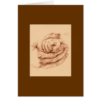 Mother and child hands greeting card