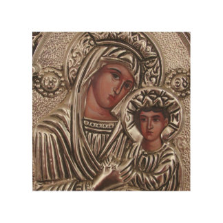Mother and Child Icon, Madonna and Jesus in silver Wood Prints