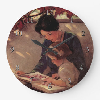 Mother and Child Reading Large Clock