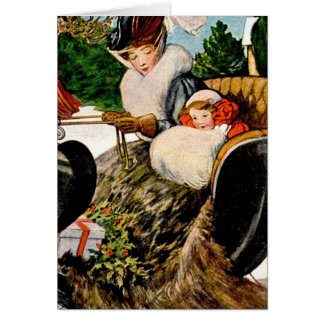 Mother and child sleighing card