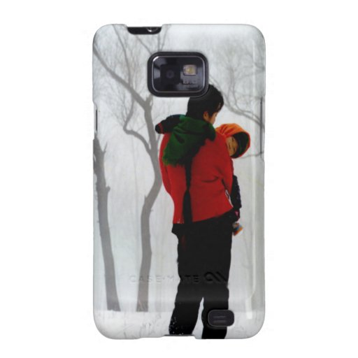 Mother and child, Winter scene Samsung Galaxy S2 Case