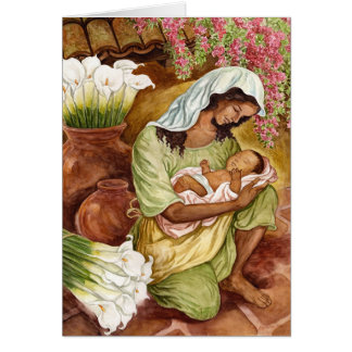 Mother And Child With Calla Lilies Card