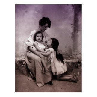 Mother and children portrait postcard