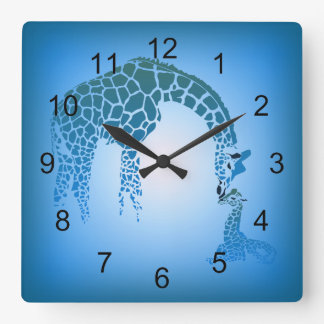 Mother and Cute Baby Giraffe | cerulean blue Square Wall Clock
