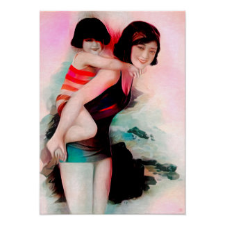 Mother And Daughter - Art On Canvas Print