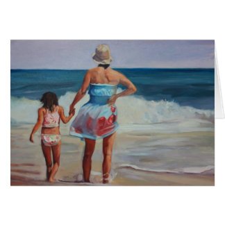 Mother and Daughter Holding Hands at the Seashore. Card