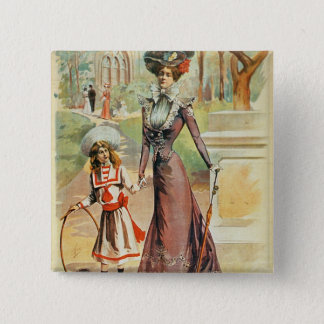 Mother and daughter on a walk (colour litho) 2 inch square button