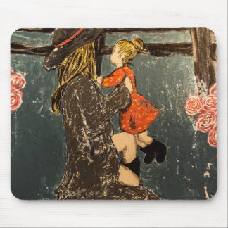 Mother and Daughter on the Farm Mouse Pad