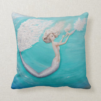 Mother and Daughter teal mermaid accent pillow