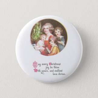 Mother and Kids Sing Carols Vintage Christmas 2 Inch Round Button