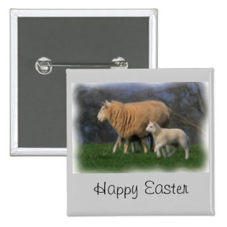 Mother and Lamb 2 Inch Square Button