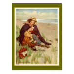 Mother and Son at the Seaside Postcard