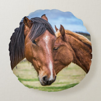 Mother and son round pillow