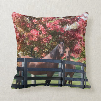 Mother and young horse throw pillow
