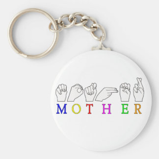 MOTHER    ASL FINGER SPELLED BASIC ROUND BUTTON KEYCHAIN