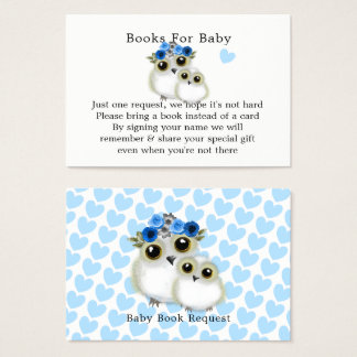 Mother Baby Cute Owl Baby Boy  Shower Book Request Business Card