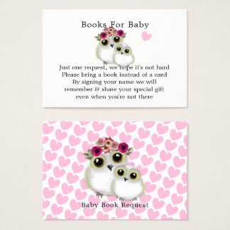 Mother Baby Cute Owl Baby Girl Shower Book Request Business Card