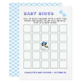 Mother Baby Cute Owls Baby Boyl Shower Bingo Game Card