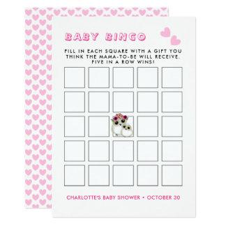 Mother Baby Cute Owls Baby Girl Shower Bingo Game Card