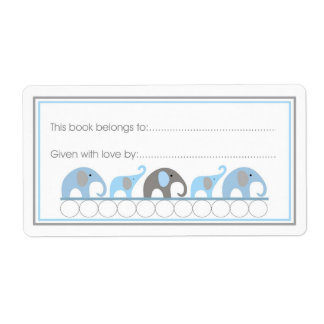 Mother & Baby Elephants Bookplate Fill-in style