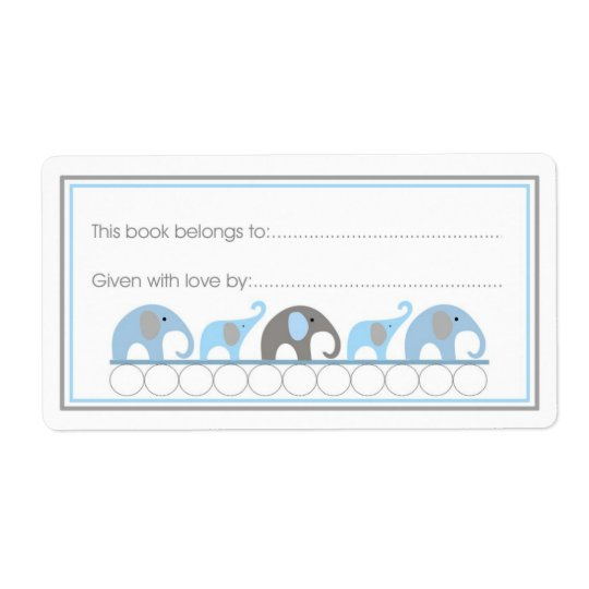 Mother & Baby Elephants Bookplate Fill-in style Shipping Label