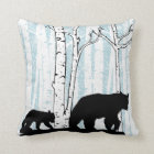 Mother Bear, Cub, Deer, Birch Trees Throw Pillow