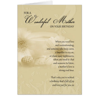 mother birthday card with poem - cream mother birt