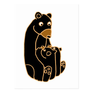 Mother Black Bear with Cubs Postcard