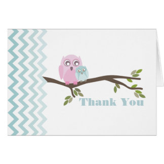 Mother & Blue Baby Owl Thank You Zigzag Stationery Note Card