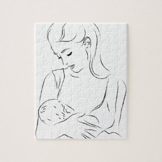 Mother Breast Feeding Infant Baby Puzzle