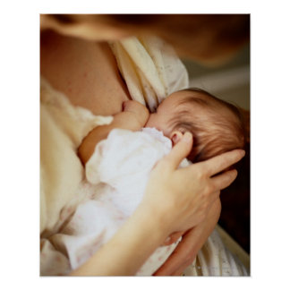 Mother breastfeeding baby girl (1-3 months) poster