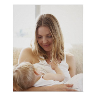 Mother breastfeeding her child poster