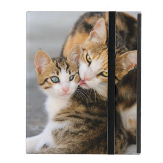 Mother Cat Loves Cute Kitten - protective Hardcase iPad Folio Case