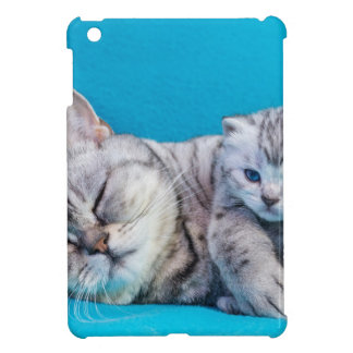 Mother cat lying with kitten on blue garments iPad mini cover