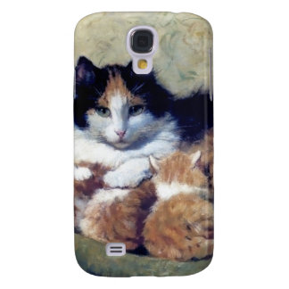 Mother Cat with Kittens painting Samsung Galaxy S4 Cover