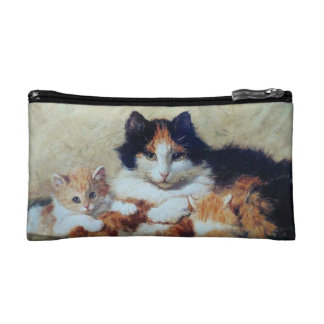 Mother Cat with Kittens - Vintage Victorian Cats Cosmetic Bag