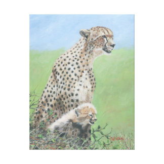 Mother Cheetah with cub Canvas Print
