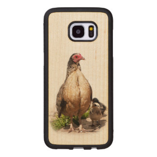 Mother Chicken and Baby Chickens Wood Samsung Galaxy S7 Edge Case