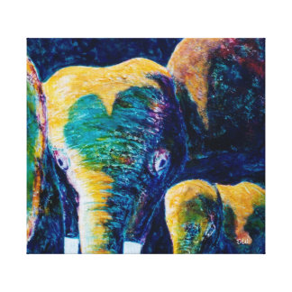 Mother & Child Elephants Canvas Print