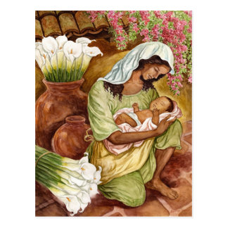 MOTHER & CHILD WITH CALA LILIES - MULTI POSTCARD