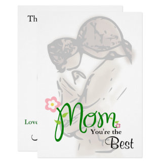 Mother & Child with Custom Text & Oval Photo Frame Card