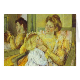 Mother Combing Her Child's Hair. 1901, Mary Cassat Card