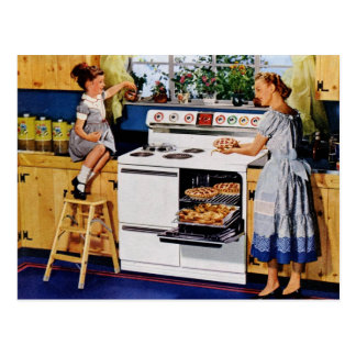 Mother/Daughter Retro Kitchen Postard Postcard
