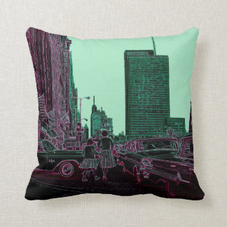 Mother Daughter Shopping Michigan Ave Chicago 1961 Throw Pillow