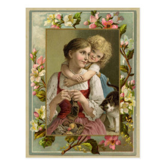 Mother & Daughter Vintage Reproduction Postcard