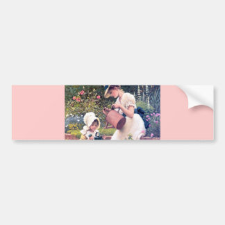 Mother Daughter Watering flowers painting Bumper Sticker