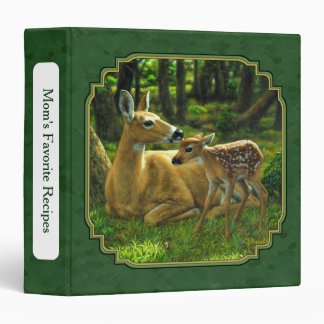 Mother Deer and Fawn Forest Green Binders
