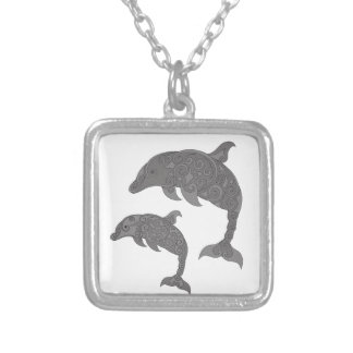 Mother Dolphin with Baby Silver Plated Necklace