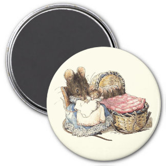 Mother Dormouse and her Child 3 Inch Round Magnet